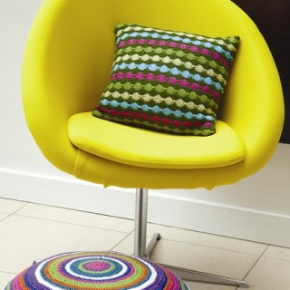 Bright Circle Floor Cushion_Dot Stripe Cushion